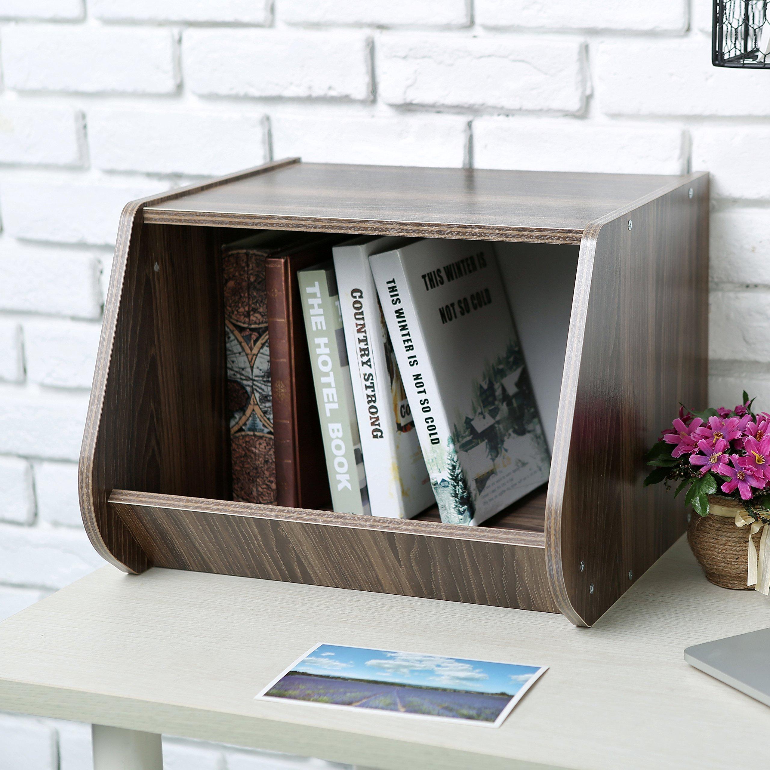 Wooden Bookcase Storage Cubby, Stackable Open Front Storage Bin, Brown
