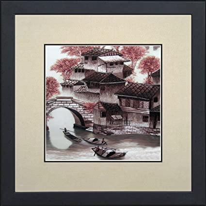 aed95ce70a5 King Silk Art 100% Handmade Embroidery Cherry Blossoms Chinese Print Framed  green bamboos Landscape Painting