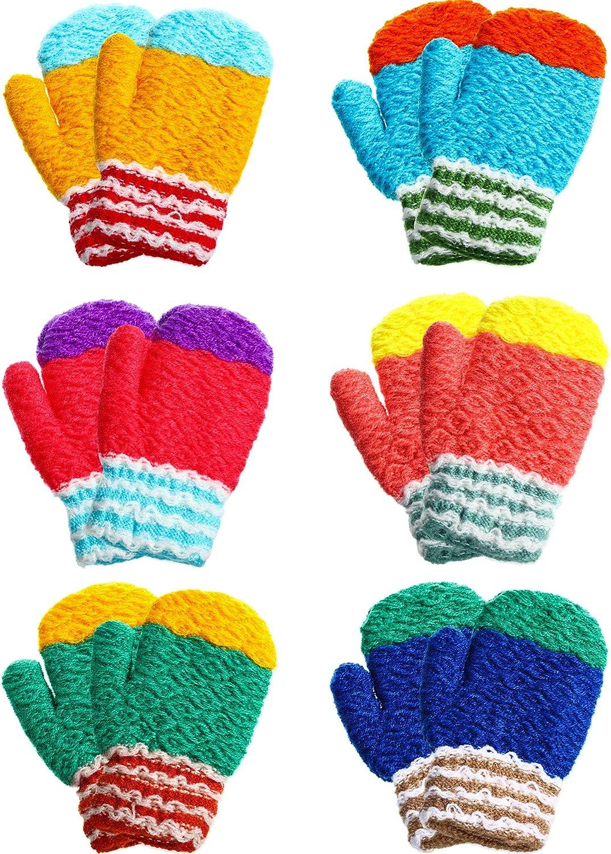 Style C SATINIOR 12 Paar Kleinkind Stretch F/äustlinge Kinder Winter Strickhandschuhe Unisex Baby F/äustlinge