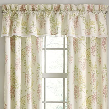 Five Queens Court Weatherly Floral Straight Window Valance, Ivory