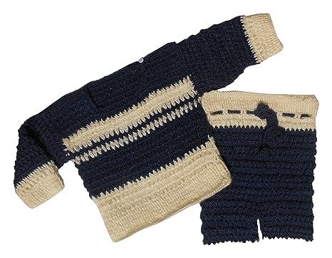 Sr Handicrafts Baby Boys Wool Sweater Set Sh059 0 6 Months Blue