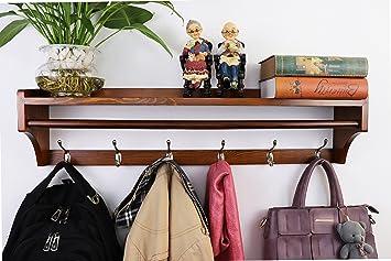 Perchero de pared ,Pared Perchero,Percha de madera maciza ,moderna multifuncional 6 ganchos estante de pared soporte de exhibición perchas Dormitorio ...
