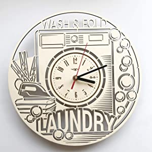 7ArtsStudio Laundry Wall Clock Made of Wood - Perfect and Beautifully Cut - Decorate Your Home with Modern Art - Unique Gift for Him and Her - Vintage Room Bedroom Kitchen Decor - Size 12 Inch