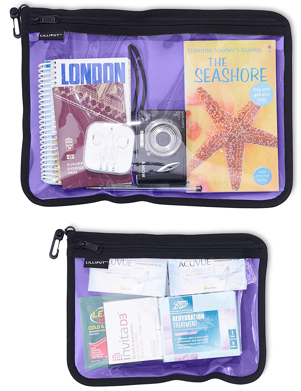 Clear Vinyl Window Snap Hook /& YKK Zipper Purple, A4 // A5 Receipt Utility Zipper Bags Organizing Pouches for Cash Documents Travel Accessories Bills