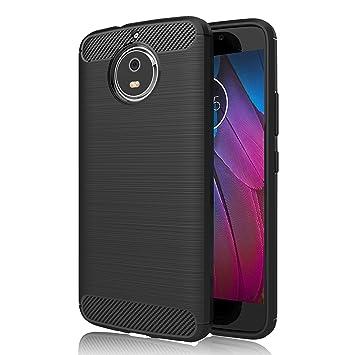 Funda Motorola Moto G5S, GeeRic Negro Silicona Fundas para Lenovo Moto G5S Carcasa Fibra de Carbono Funda Motorola Moto G5S Case Cover 5.2