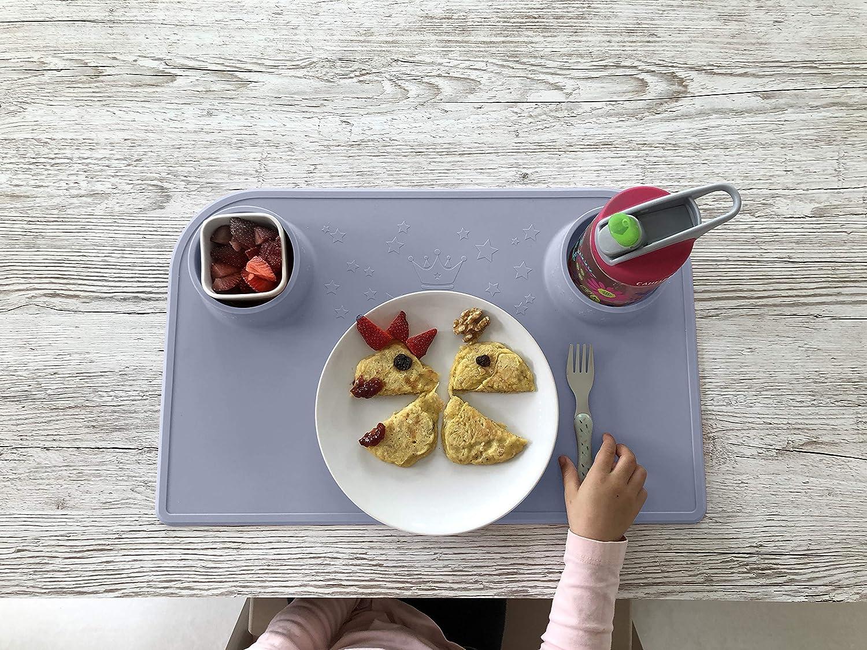Blau gratis Baumwolltasche innovative Essunterlage /& Bastelunterlage rutschfest BPA-frei abwaschbar Platzmatte Bellivia eat /& play pad Platzset f/ür Kinder und Babies Tischset