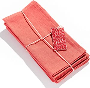 Caldo Linen Dinner Napkins - Rustic- Soft and Durable Cloth- Washable and Reusable - 4 Pack - 20x20 inch (Coral)