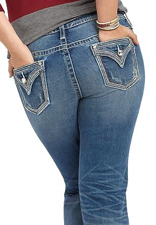 ac78aac8453 maurices Women s Plus Size Vigoss Sequin Trim Slim Boot Jean 14 Medium  Sandblast