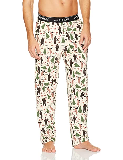 Hatley Jersey Pyjama Pants, Pantalones de Pijama para Hombre, Blanco (Lumberjack Animals 101