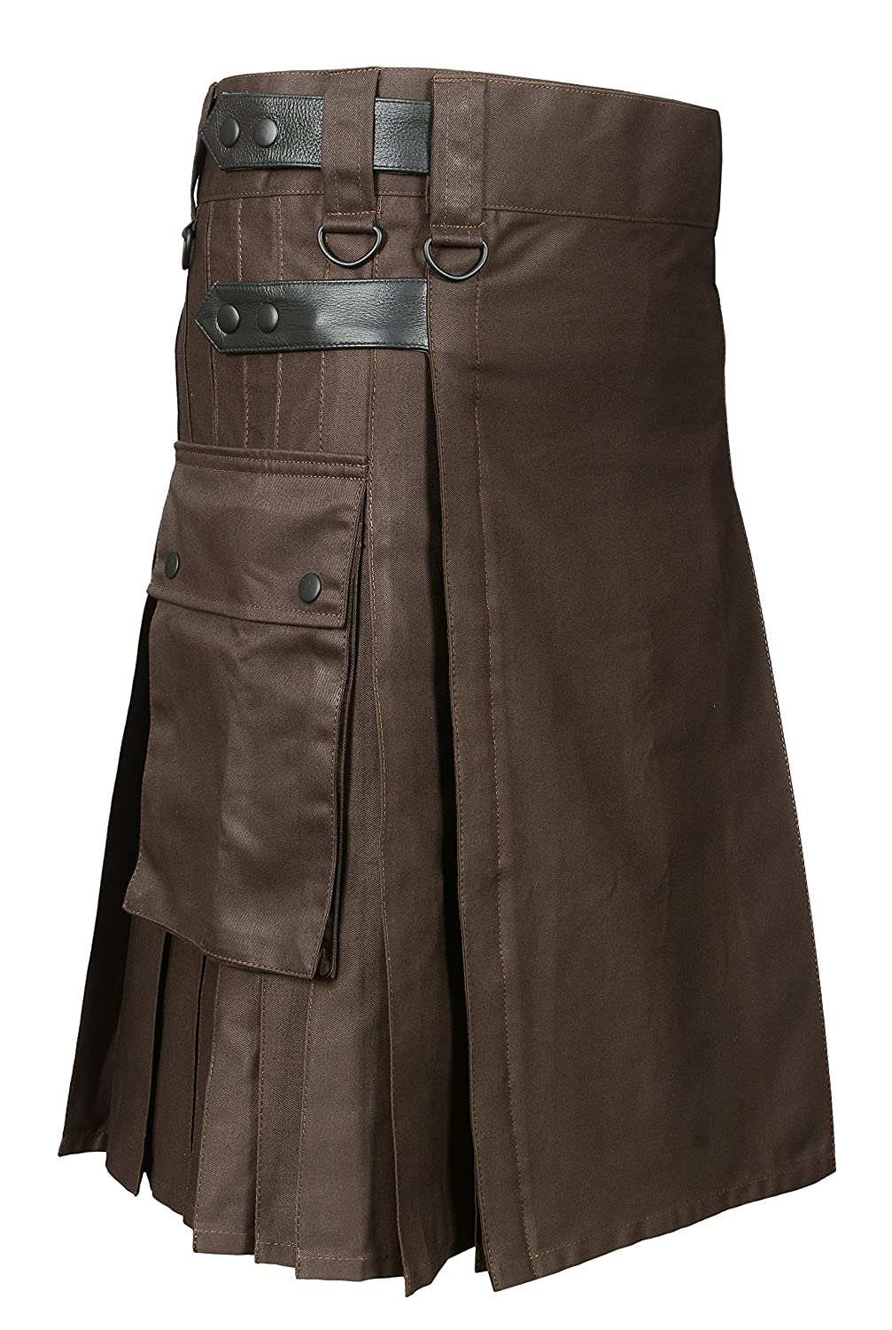 Scottish Brown Utility Kilt For Men Brown Leather Strps