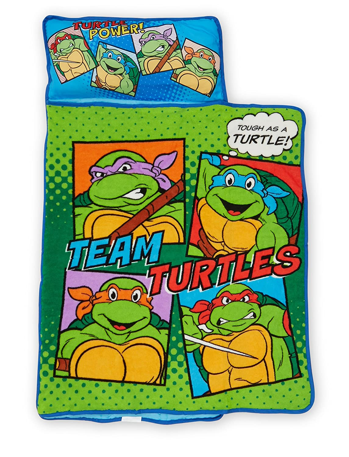 Teenage Mutant Ninja Turtles Toddler Nap Mat - Includes Pillow and Fleece Blanket – Great for Boys and Girls Napping at Daycare, Preschool, Or ...