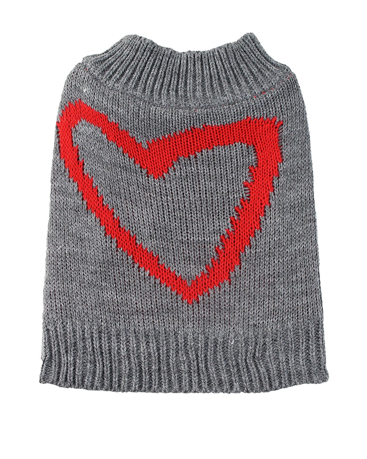 Small Red Heart Dog Sweater by Midlee fits 10'' Back Length