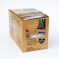 Rawnata Raw Manitoba Flax Crackers, High in Omega-3, 28g per Snack Pack, Sunflower Sesame, 12 Count