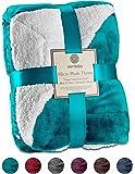"Genteele Super Soft Luxurious Sherpa Throw Blanket, 50"" X 60"", Teal"