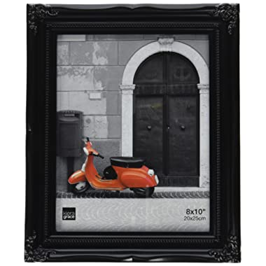 Kiera Grace 8 by 10 Inch Georgia Picture Frame, Black, Ornate Resin (Plastic) Design, Vertical and Horizontal Wall Display