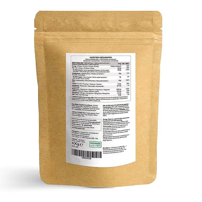 Granos de Cacao Crudo Ecológico 400g | 100% Bio, Natural y Puro | Cultivado en Perú a partir de la planta Theobroma cacao | Superalimento rico en ...