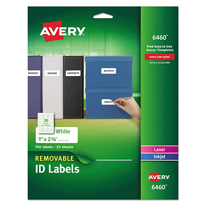 Amazon Avery Removable 1 X 2 58 Inch White Id Labels 750