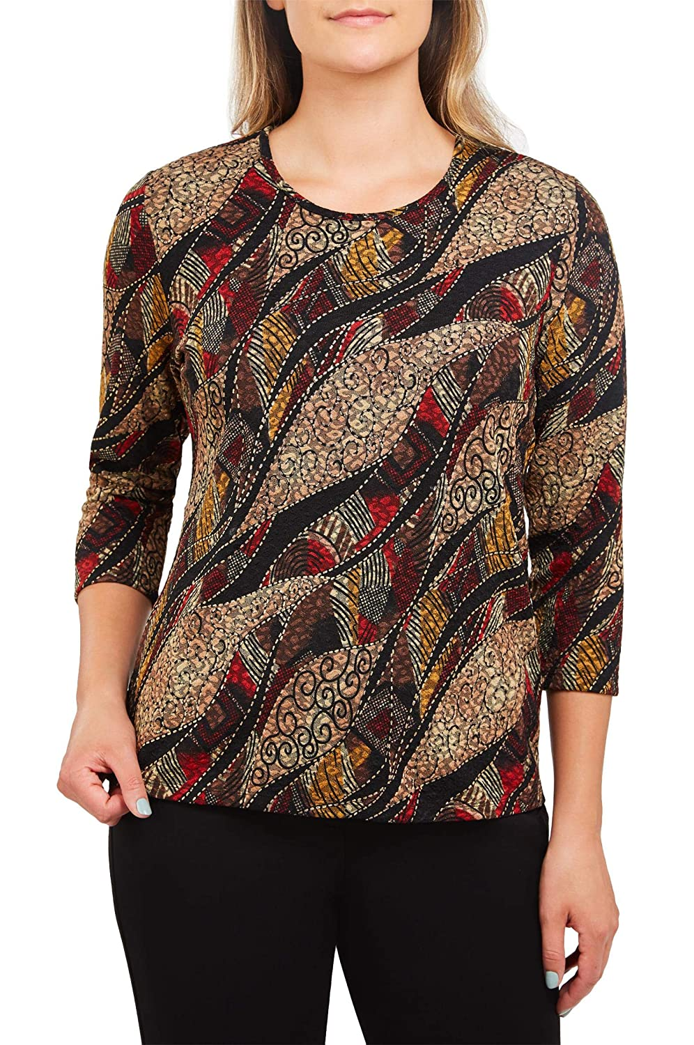 Plus Pucker Print Crew Neck Top Nygard 4R486870