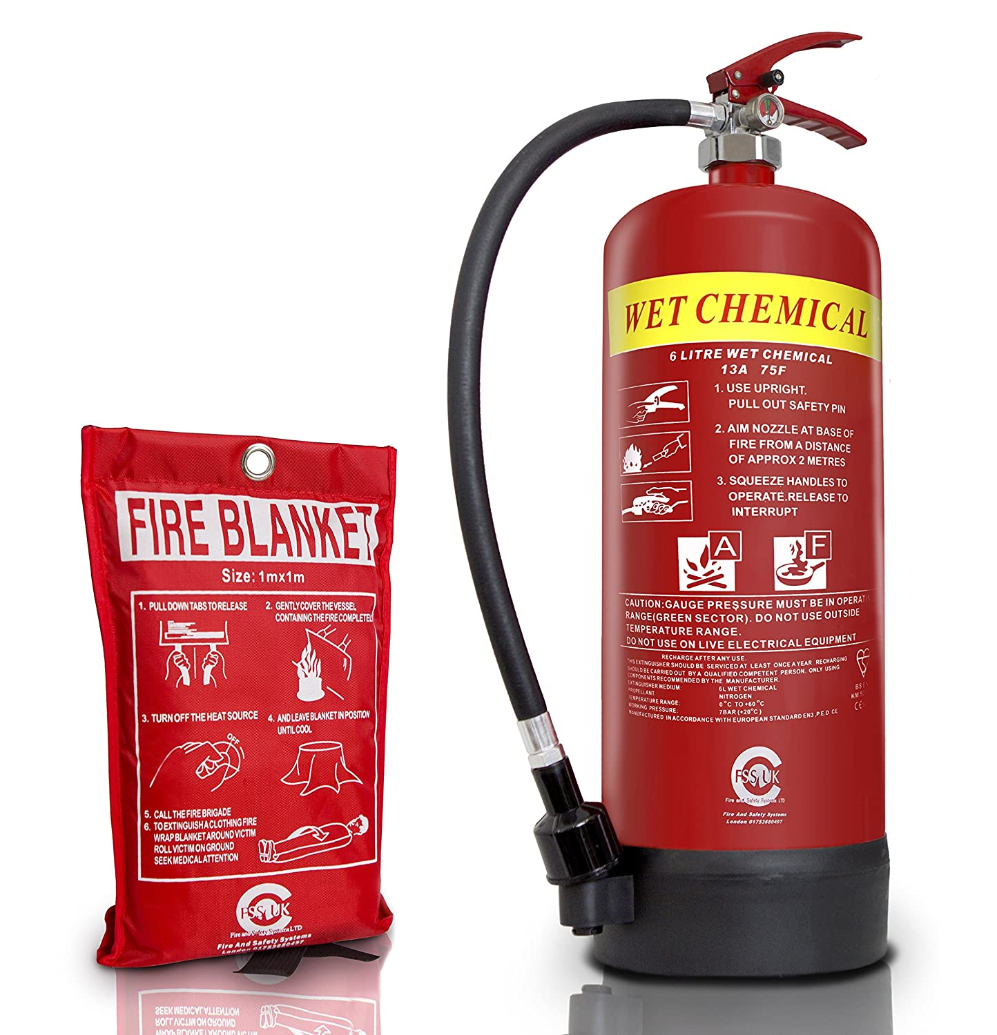 FSS UK PREMIUM 6 LITRE WET CHEMICAL FIRE EXTINGUISHER(BSi KITEMARKED) WITH 1M X 1M FIRE BLANKET(CE). IDEAL FOR COMMERCIAL KITCHEN, RESTAURANTS PUBS BARS COOKING FIRES. 6 L LTR WET CHEM