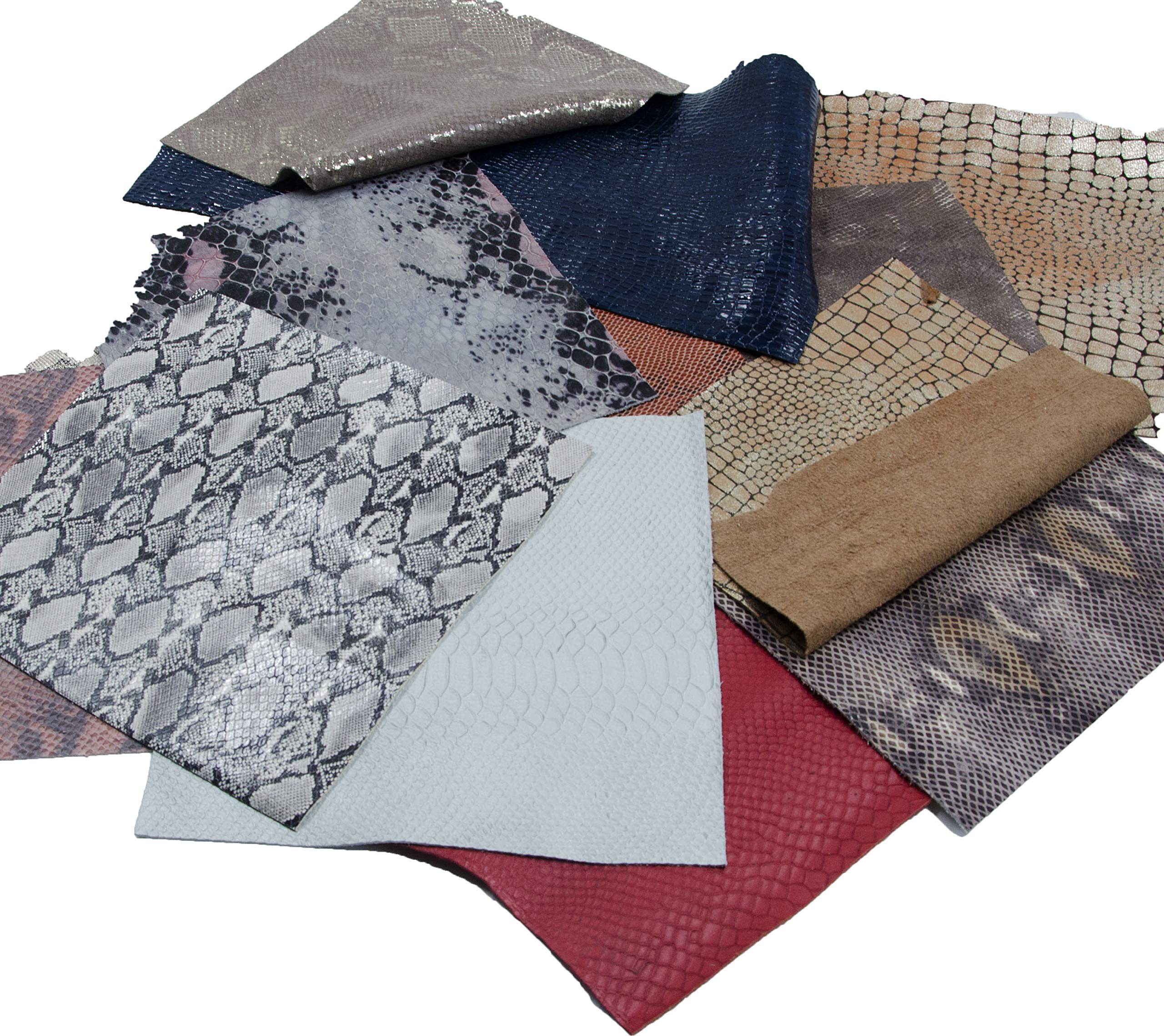 Mardili Printed and Embossed Upholstery Leather Scraps,2LBs Large Pieces,Square(10''10'') and Irrgular Size by Mardili