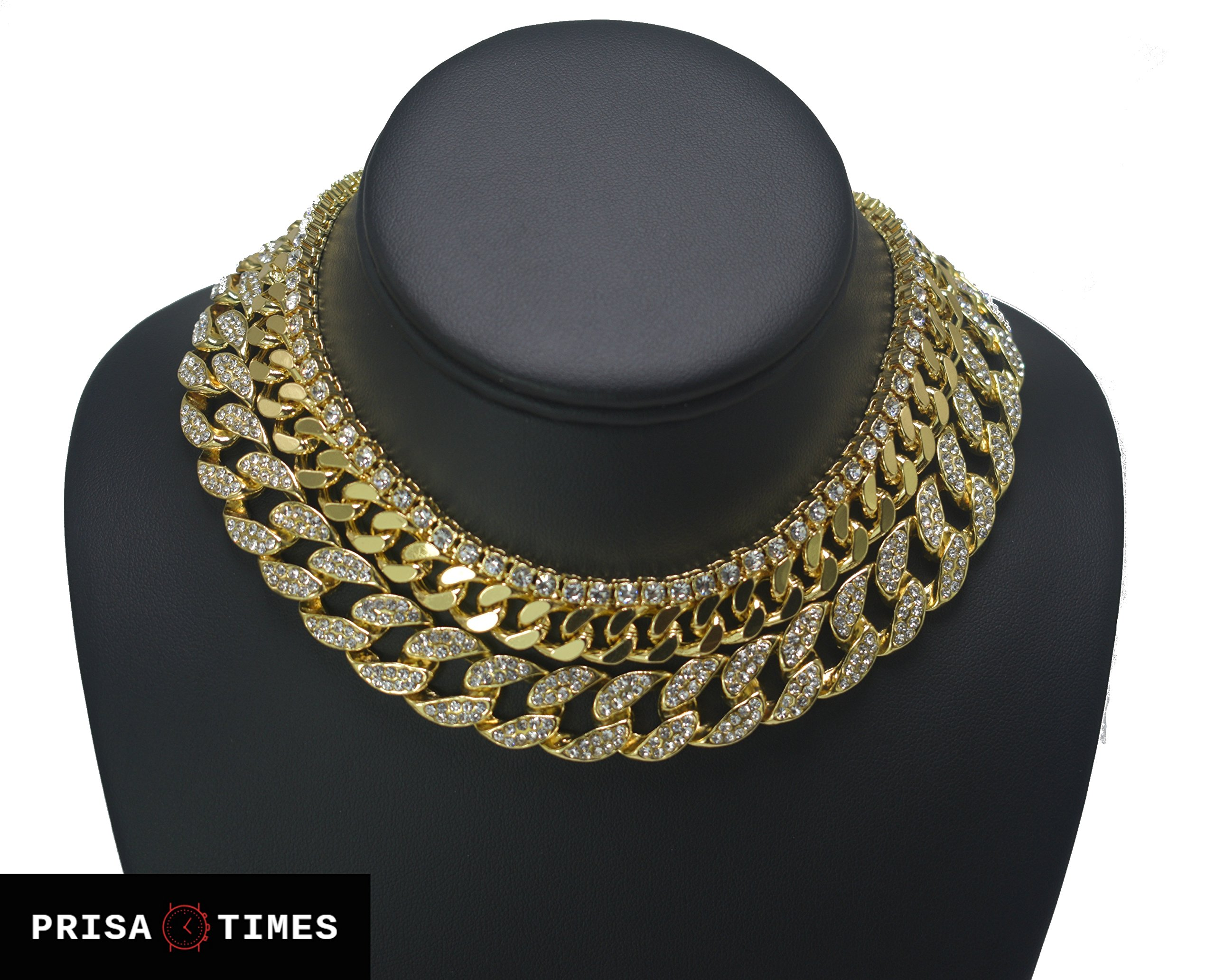 Prisa Times Iced Out Quavo Choker 18'' Cuban & 18'' Full Iced Cuban & 1 ROW Tennis Chain (All of Them)