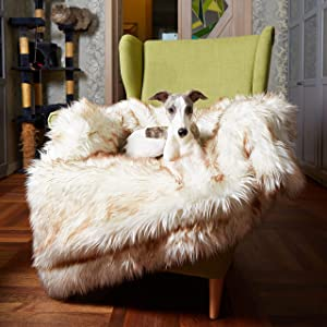 Waterproof Dog Blanket, Plush Throw for Sleeping, Whelping, and Comfort, Pet Fur, Bed, Car, Couch, and Furniture Protection with Soft, Stain Resistant Surface, Machine Washable, Bone White