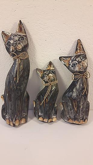 Hurt-Detal Tres Gatos Madera Gatos Figuras de Gato Deko Gatos 25 - 21 - 15 cm: Amazon.es: Juguetes y juegos