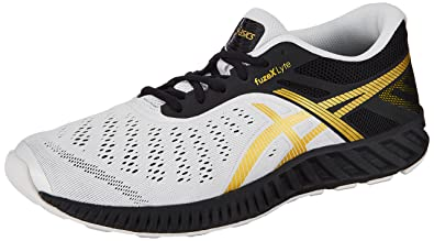 ASICS Men's Fuzex Lyte Black, Rich Gold and White Running Shoes - 11 UK/