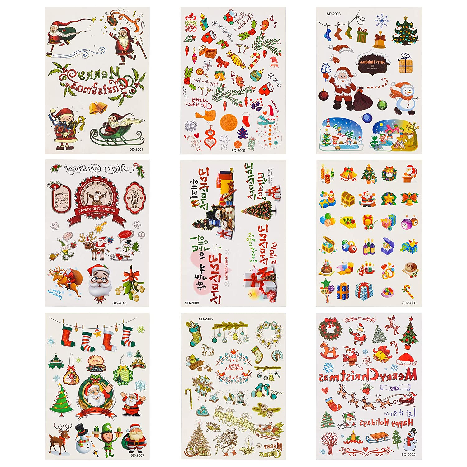 Waldd 9 Sheets Large Size Christmas Temporary Tattoos Christmas Party Decorations Tattoos 120 Styles Merry Christmas Party Favors, Christmas Eve, Xmas Tree, Santa, More