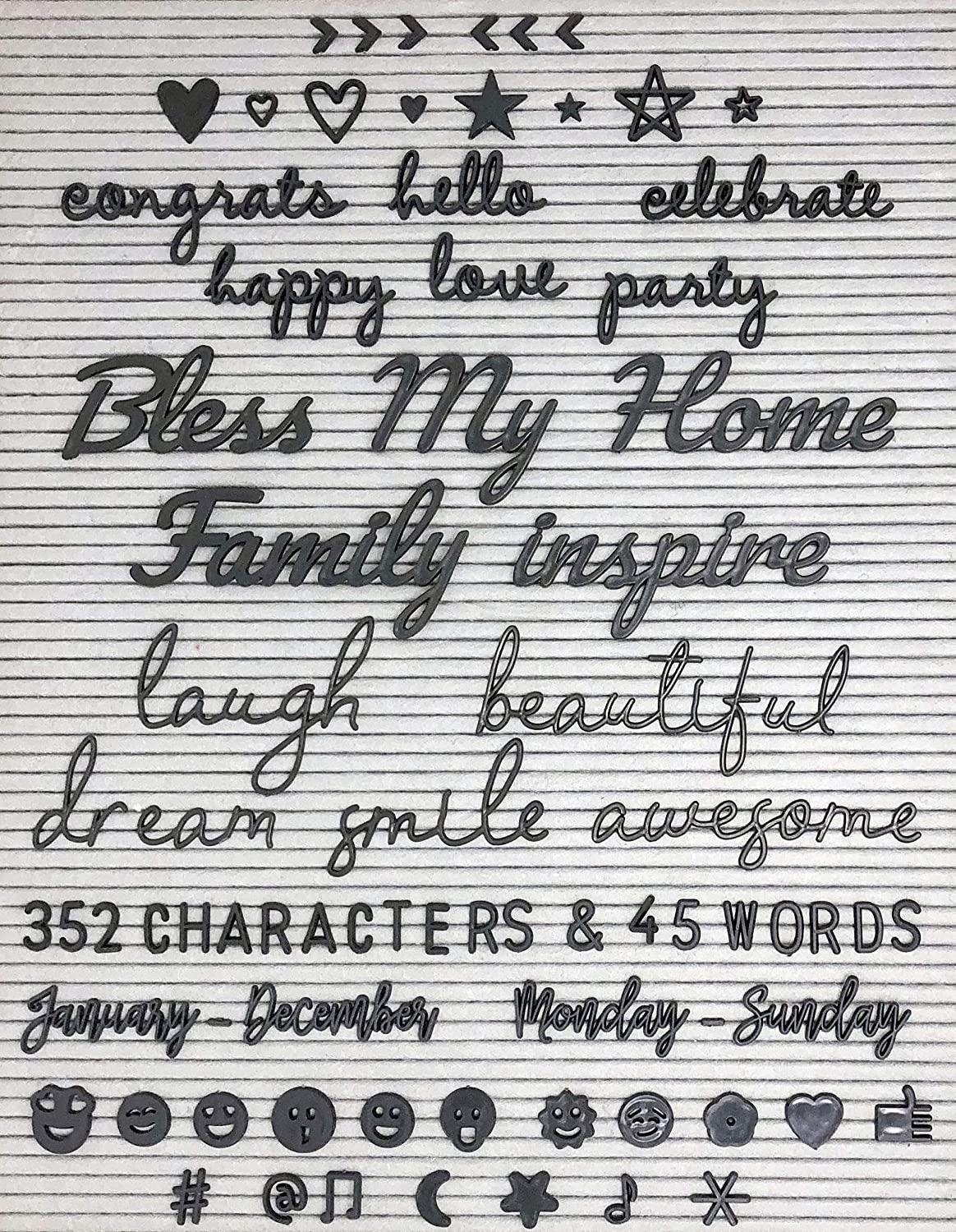 Black Letter Board Letters and Words for Changeable Letter Boards and Felt Letterboards - 397 Piece Mega Bundle | 45 1-3 Inch Cursive Words | Emojis, Characters, Letters, Symbols | Birth Announcements Word Notions
