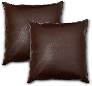 Faux Leather Throw Pillow Cover - Set of 2 - 20x20 Inches - Sofa, Couch, Den Pillow Cover Decor - Bedroom, Living Room, Decor - Modern, Bohemian, Farmhouse Pillow Covers - Cushion Pillow Cover (Brown)
