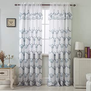 RT Designers Collection Blue Rochelle Embroidered 54 x 84 in. Satin Layered Rod Pocket Single Curtain Panel w/Attached 18 in. Valance