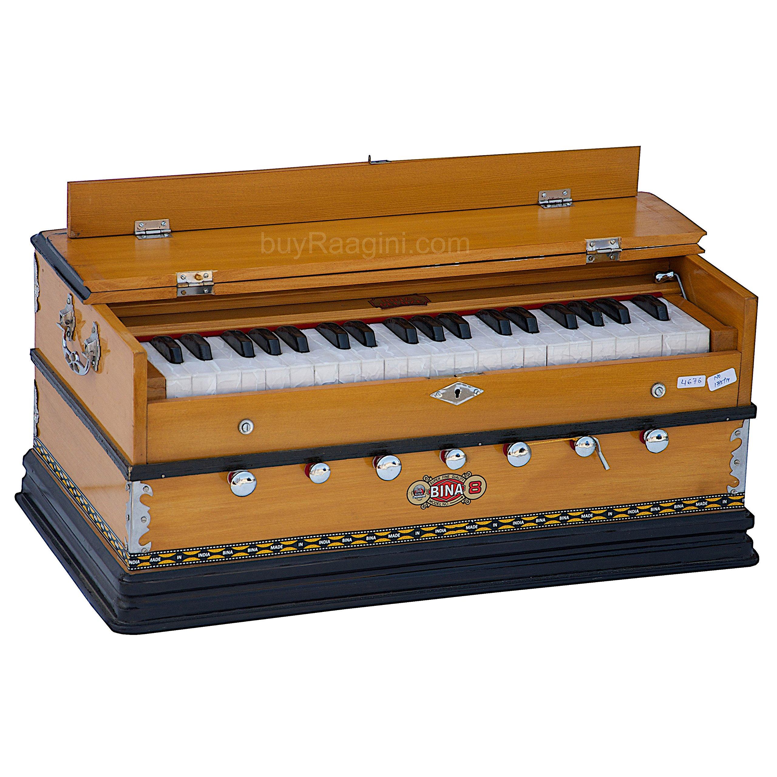 Harmonium Musical Instrument, BINA No. 8, 7 Stops, 3 1/4 Octaves, Coupler, Tuned To A400, Double Reed, Natural Color, Book, Nylon Bag (PDI-DJF) by Bina (Image #7)