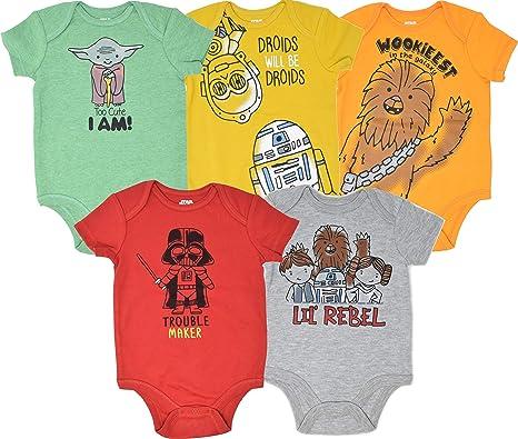 Star Wars Baby Boys 5 Pack Bodysuits Princess Leia Yoda Han ...