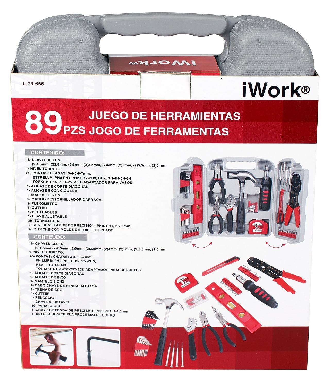 iWork L-79-656 Juego de herramientas de 89 piezas en maletín 2.2 x 8.3 x 2.5 cm: Amazon.es: Bricolaje y herramientas