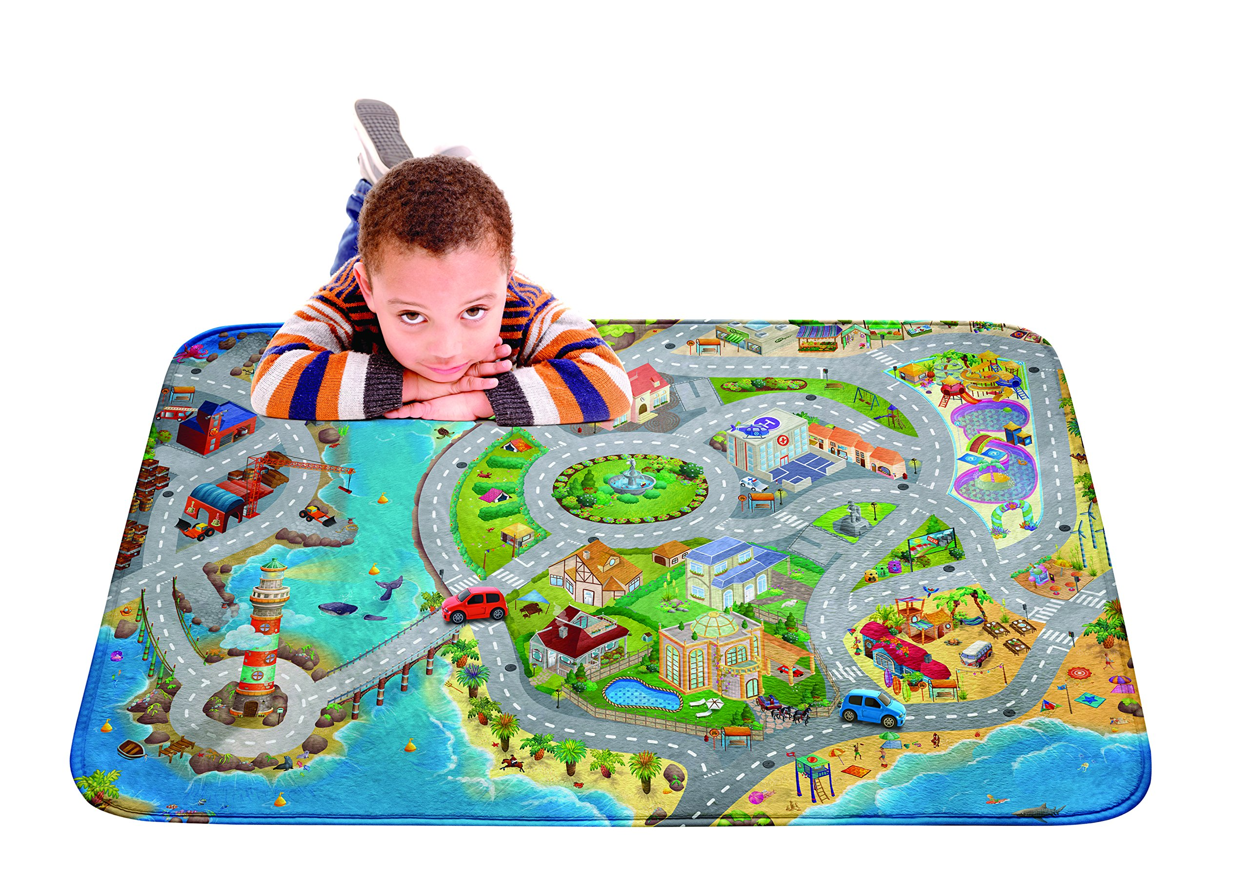 Kids Ultra Soft Play Mat for Children Learnig Carpet Car Area Rugs - Sea Side Design 39x59 inch