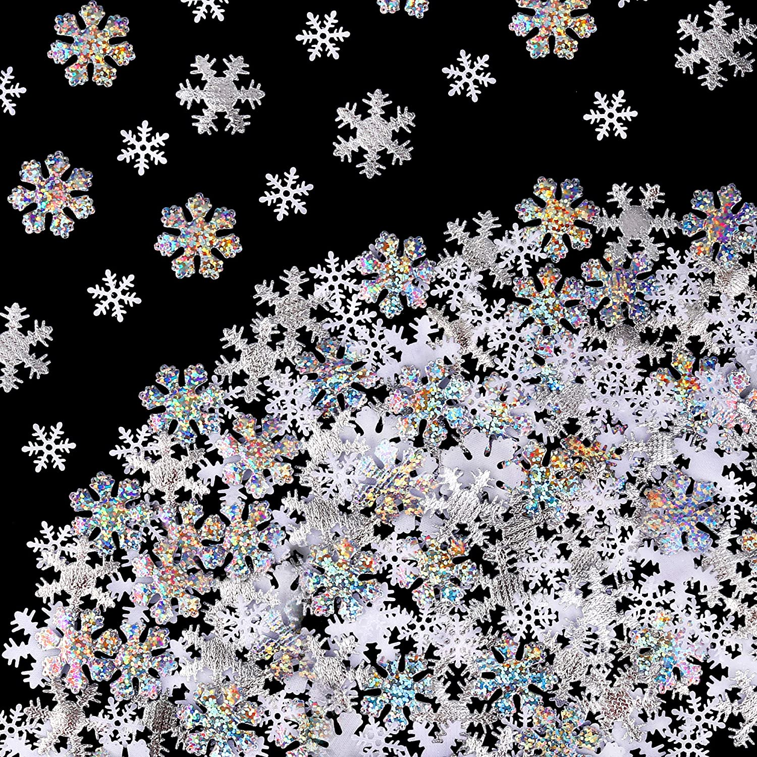 Christmas Snowflake Confetti Decoration(300pcs),Konsait Large Shimmer Snowflakes Cake Table Confetti for Xmas Party Decor Accessories winter wedding happy new year Arts Crafts party Decoration Supplies