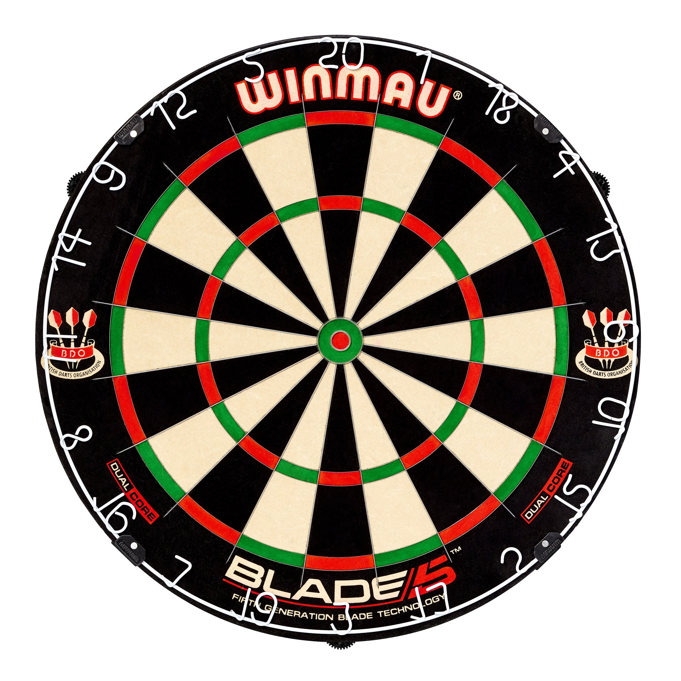 Winmau Blade 5 Dual Core Bristle Dartboard with Increased Scoring Area and Improved Dart Deflection for Reduced Bounce-Outs by Winmau