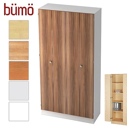 Aktenschrank  Bümö ® Office, Wood, Zwetschge/Weiß, Aktenschrank m. Falttür ...