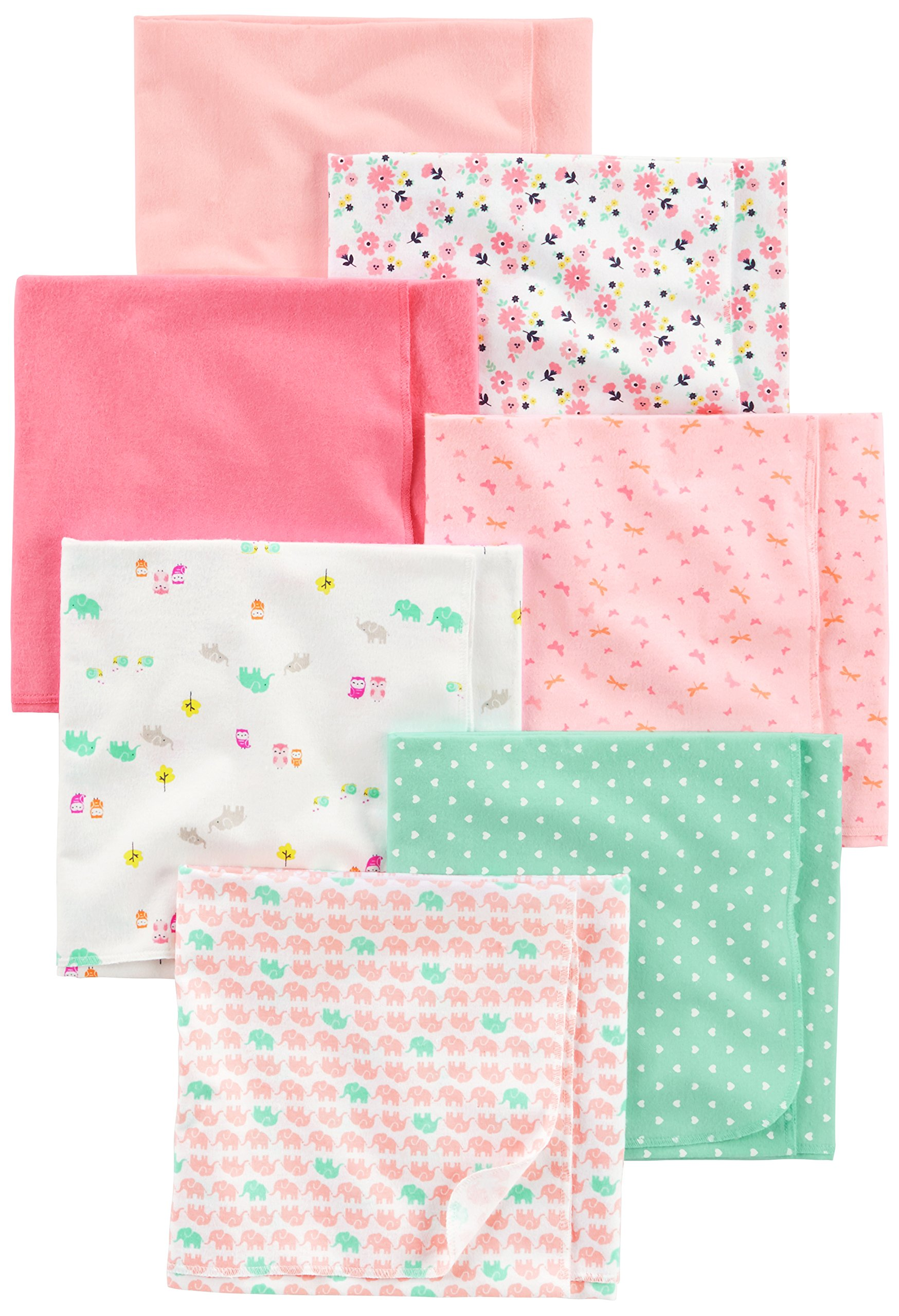 Simple Joys by Carter's Baby Girls' 7-Pack Flannel Receiving Blanket, Pink/White, One Size by Simple Joys by Carter's