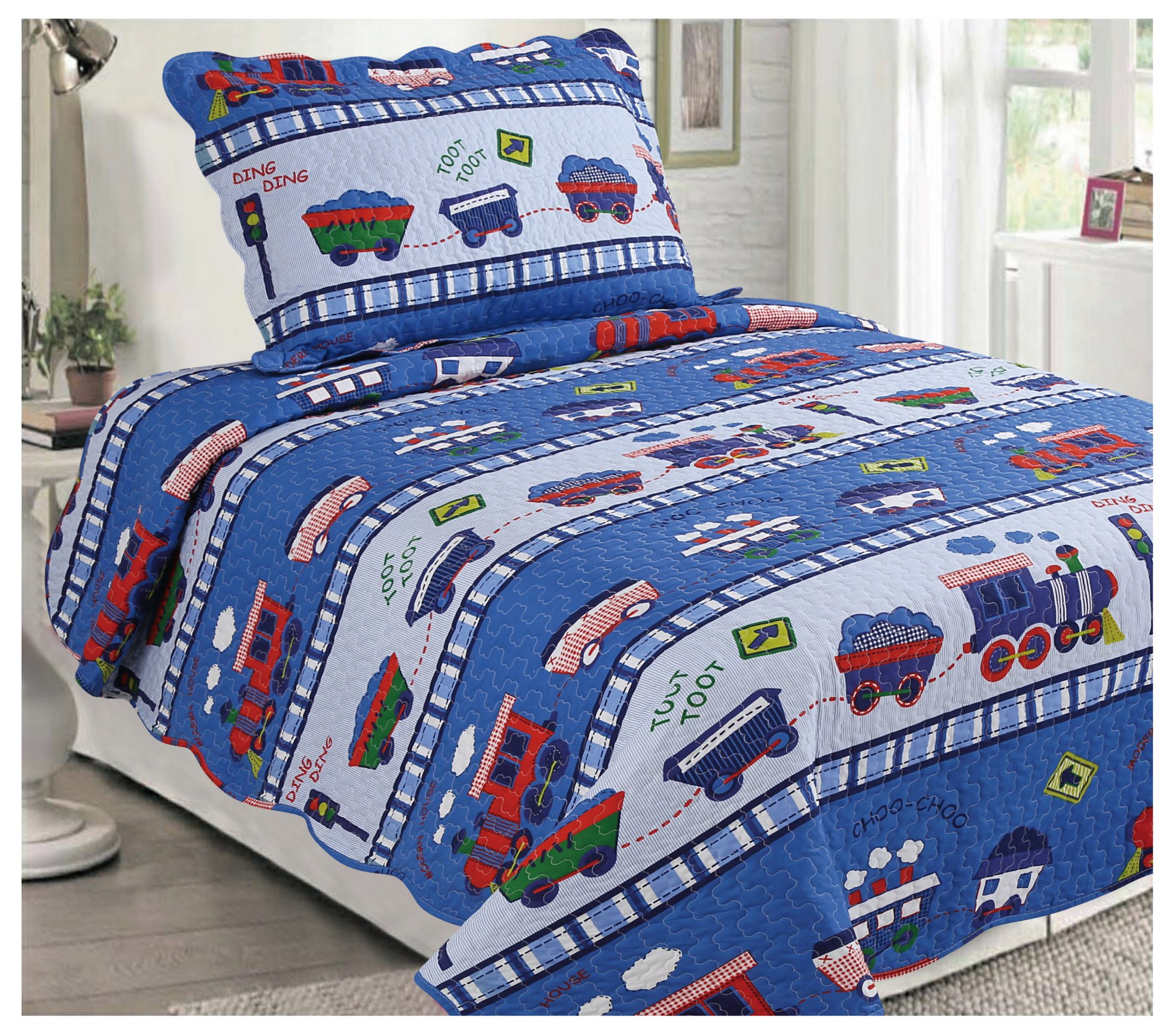 Elegant Home Blue Multicolor Kids Choo Choo Train Cars and Railroad 2 Piece Bedding Quilt Coverlets Bedspread Set Twin Size # 13029