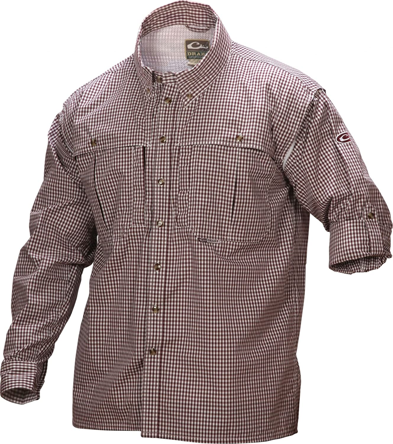 Drake Mens Long Sleeve Wingshooters Gingham Game Day Shirt Large, Maroon