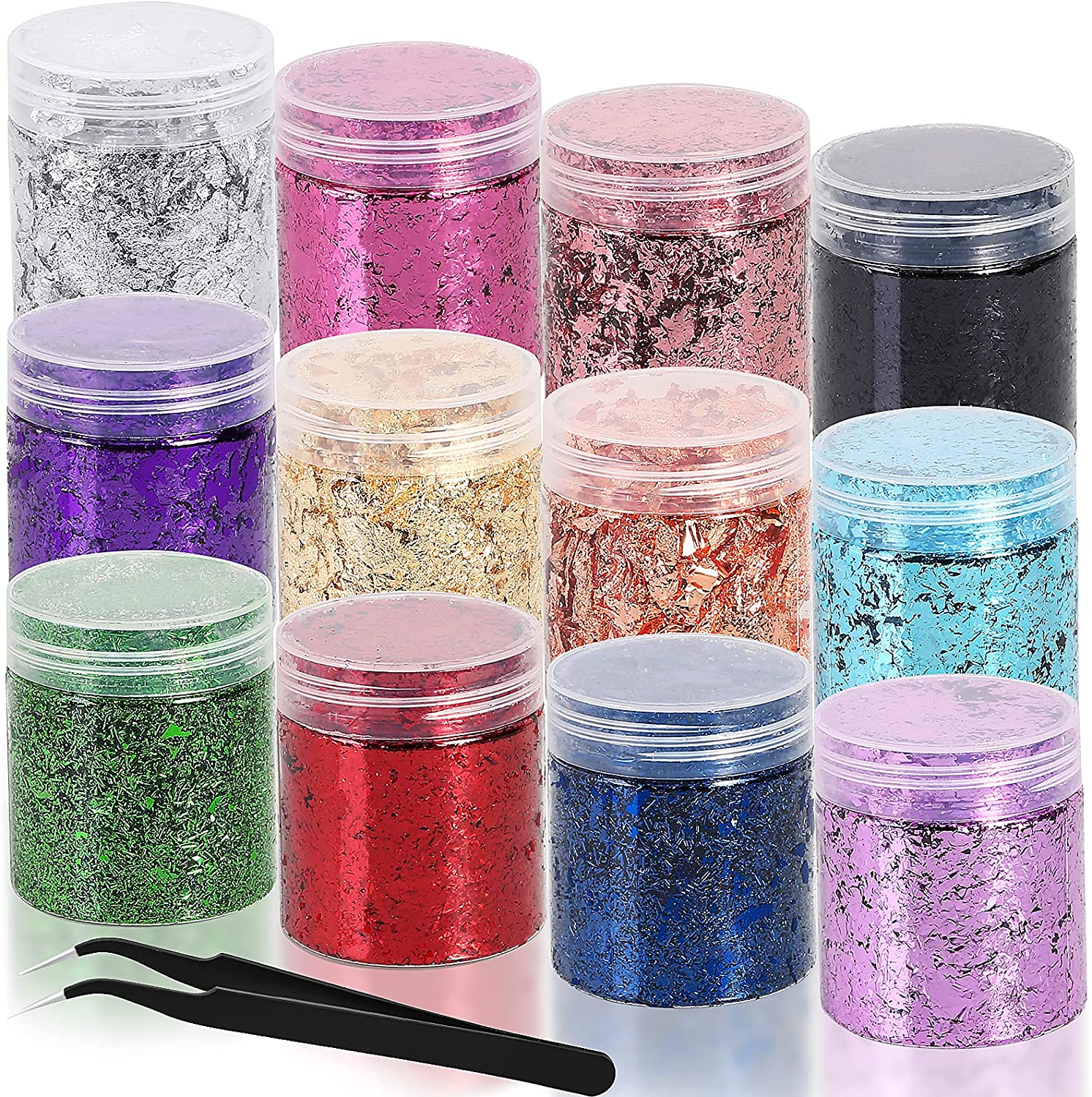 Gold Foil Flakes for Epoxy Resin, 12 Colors Metallic Gilding Flakes with Tweezers for DIY Resin Crafts, Nails Décor, Painting Arts, Slime and Resin Jewelry Making Accessories