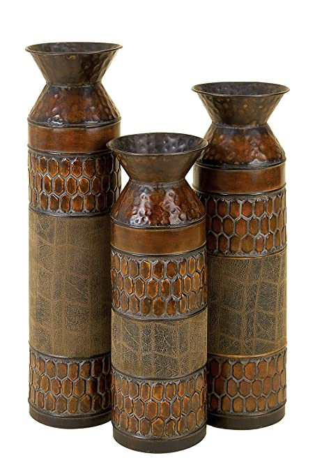 Amazon Deco 79 Metal Vase 25 By 22 By 19 Inch Set Of 3 Home