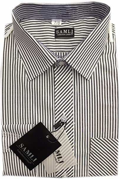 Boys Formal Shirts Smart Long Sleeved Striped or Checked Casual Shirt Ages 1-15Y