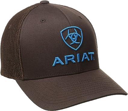 Ariat Men/'s Brown Blue Half Mesh Hat