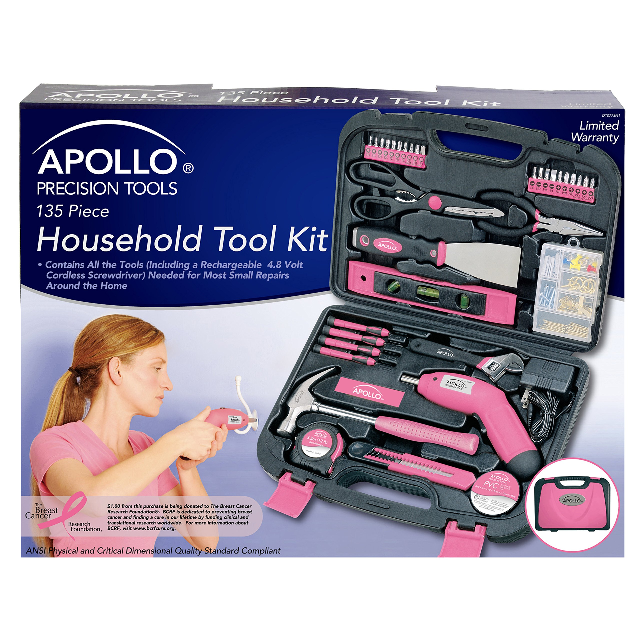 Apollo Tools DT0773N1 135 Piece Complete Household Tool Kit with 4.8 Volt Cordless Screwdriver and Most Useful Hand Tools and DIY accessories Pink Ribbon by Apollo Tools (Image #2)