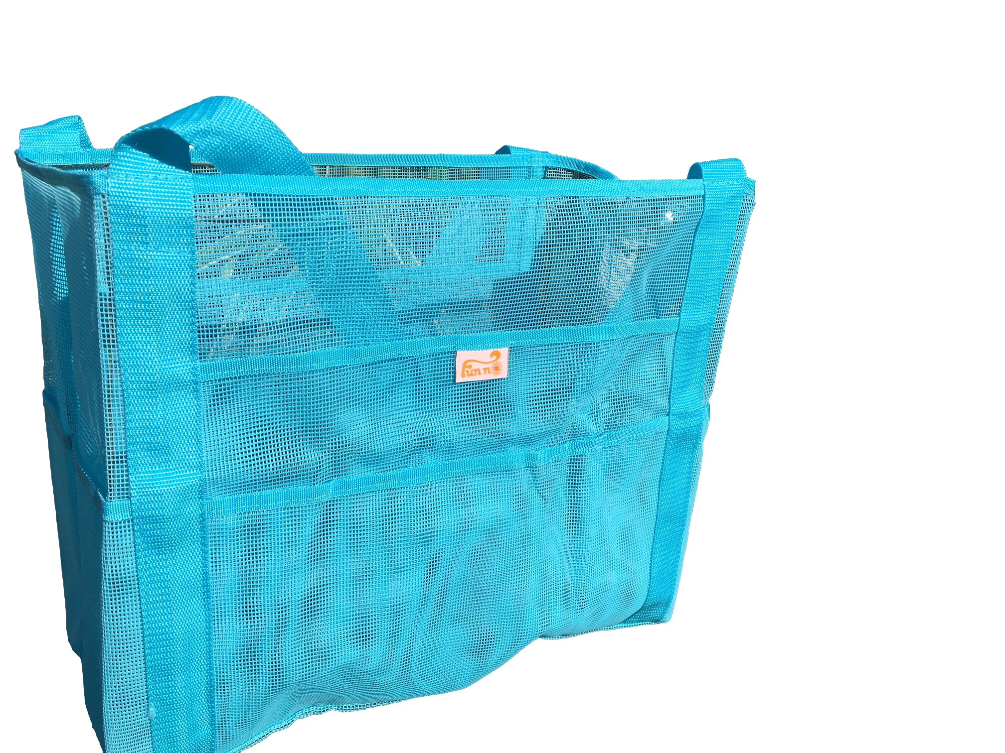 MESH BEACH BAG ~ EXTRA LARGE CAPACITY~OVERSIZE POCKETS~ LIGHTWEIGHT MARKET & GROCERY, BEACH TOY TOTE