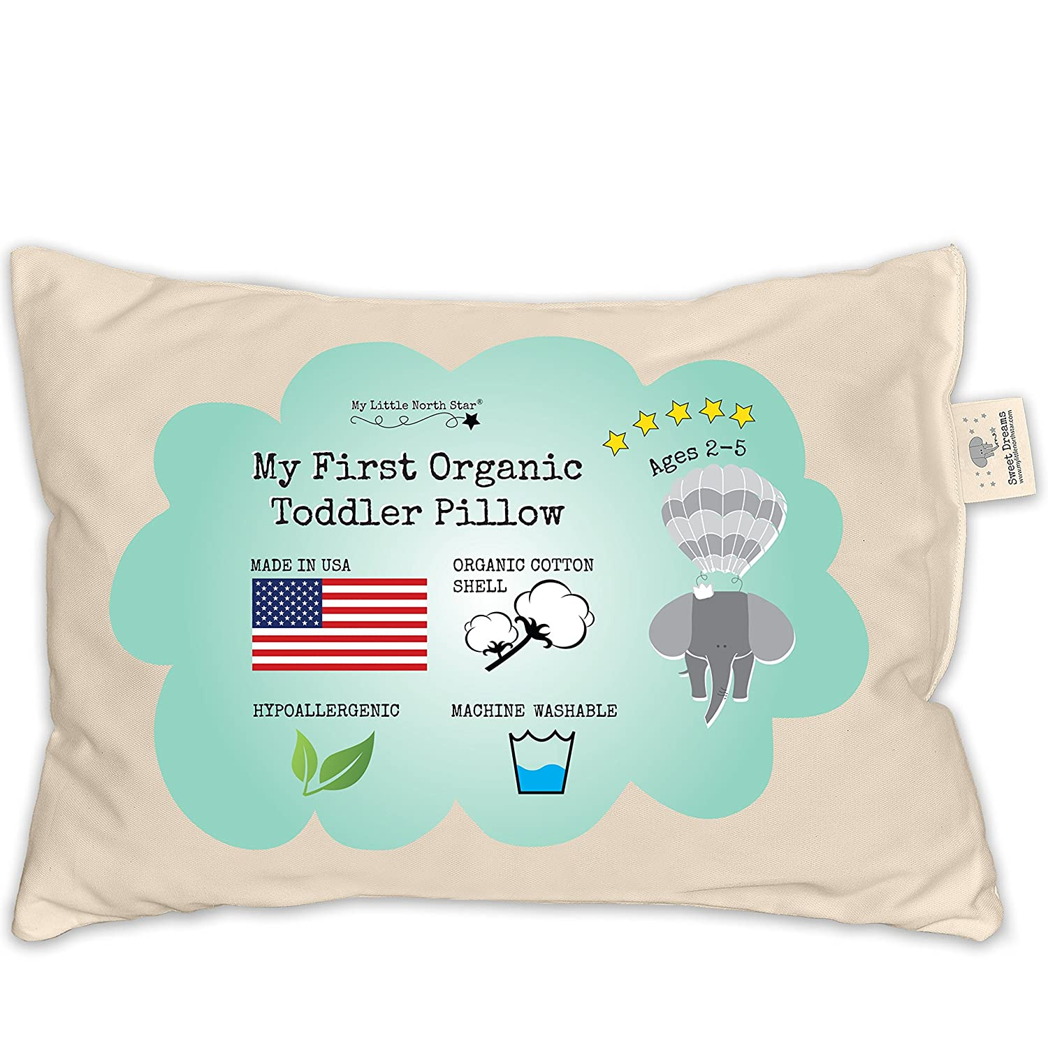 Organic Toddler Pillow Made in USA (13x18) and carrying bag
