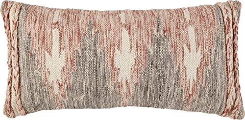 Amazon Brand Stone Beam Modern Braid Throw Pillow – 12 x 24 Inch, Red White Black